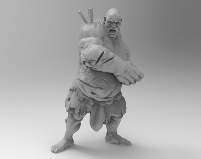 Hill Giant (Injured) - 3D Printed Resin Miniature for Dungeons and Dragons, Pathfinder, Starfinder and other Tabletop RPGs