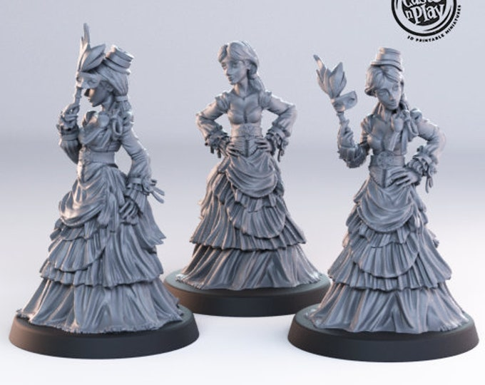 Noble Females NPC Miniatures - 3 Poses - Cast N Play - Towns Folk - Dungeons and Dragons - DnD - Pathfinder - Miniatures