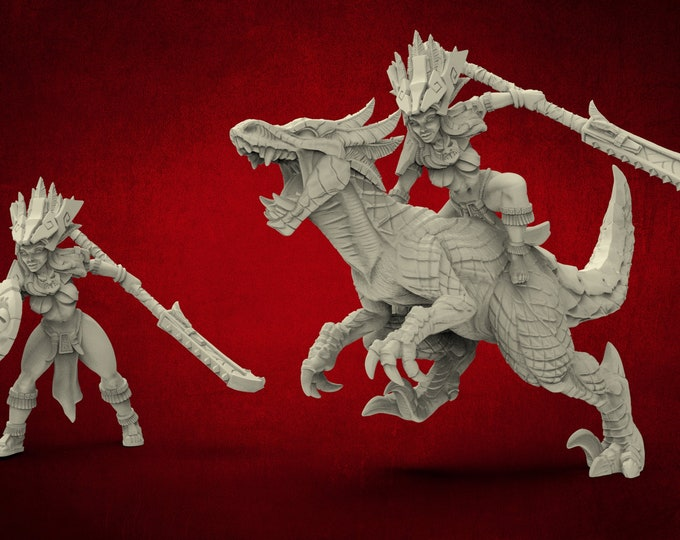 AMAZONS! Incas Princess + Raptor - 3D Printed Resin Miniature for Dungeons and Dragons Pathfinder and other Tabletop RPG