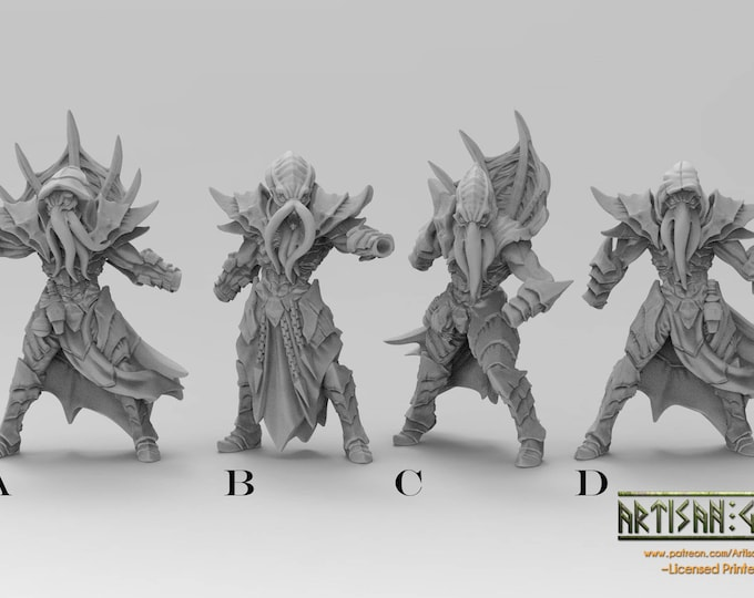 Deep Ones/Depth Ones - Reaver 4 Types - 3D Printed Resin Miniature for Dungeons and Dragons, Pathfinder, Starfinder and other Tabletop RPGs