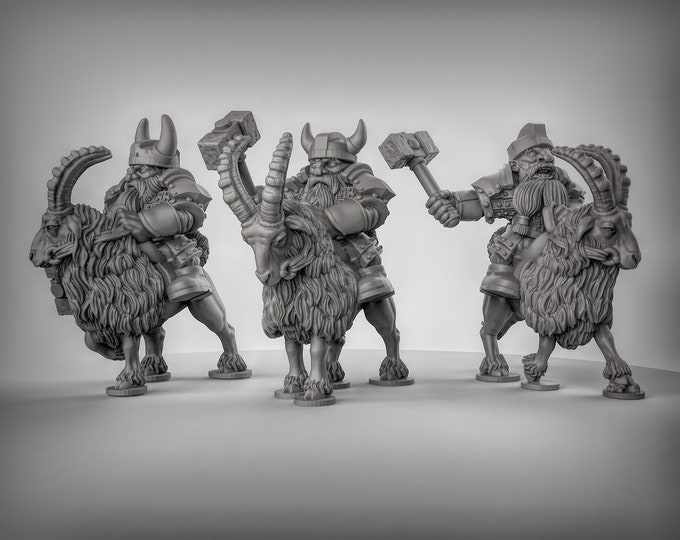 Dwarf Goat Riders - 3 Poses -  3D Printed Resin Miniature for Dungeons and Dragons, Pathfinder, Starfinder and other Tabletop RPGs