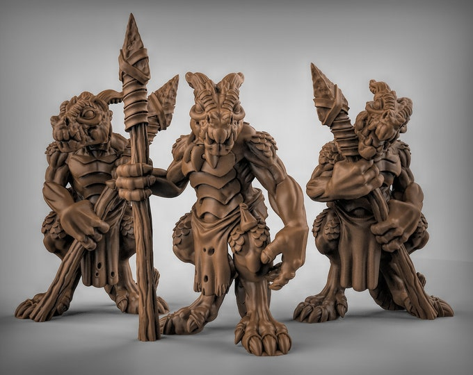 Kobold with Spears - 3D Printed Resin Miniature for Dungeons and Dragons, Pathfinder, Starfinder and other Tabletop RPGs