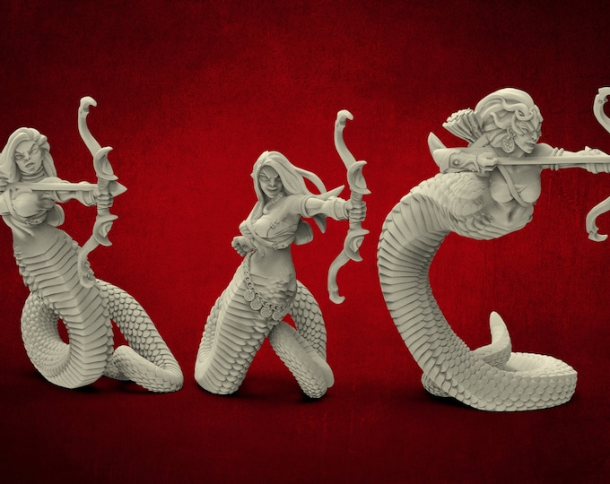 AMAZONS! Naga Tribe Snakewomen Archers - 6 Poses - 3D Printed Resin Miniature for Dungeons and Dragons Pathfinder and other Tabletop RPG
