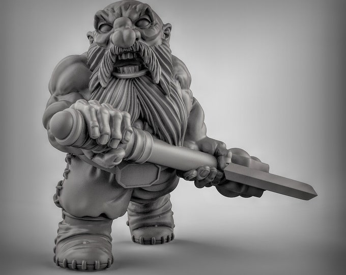 Dwarves - Dbl Handed Weapon - Pose 3 - 3D Printed Resin Miniature for Dungeons and Dragons, Pathfinder, Starfinder and other Tabletop RPGs