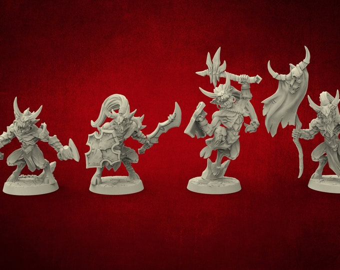 Demons Abyss Gruntlings - 4 Poses - Dungeons and Dragons - DnD - Pathfinder - Miniatures
