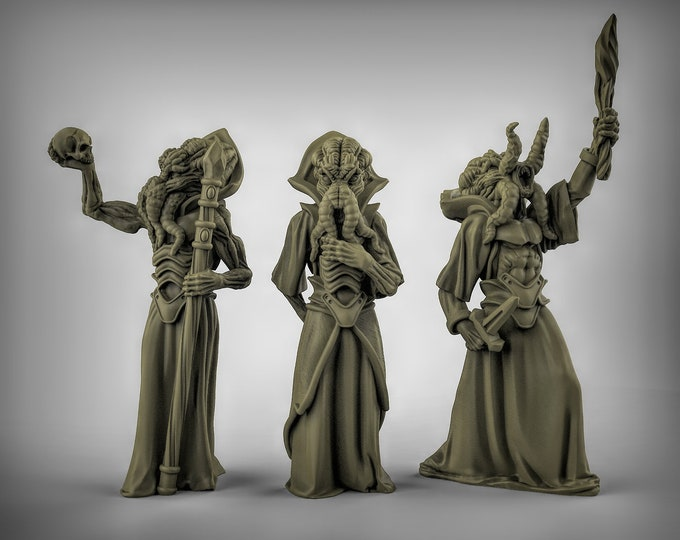 Cthulhu Cultists - 3 Poses -  3D Printed Resin Miniature for Dungeons and Dragons, Pathfinder, Starfinder and other Tabletop RPGs