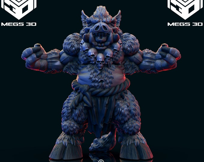 Wereboar 2 - 3D Printed Resin Miniature for Dungeons and Dragons, Pathfinder, Starfinder and other Tabletop RPGs