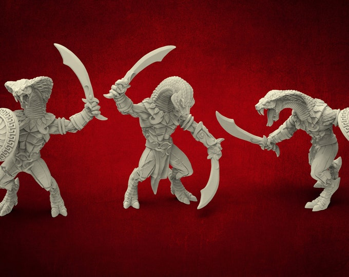 AMAZONS! Naga Tribe Snakemen - 3 Poses - 3D Printed Resin Miniature for Dungeons and Dragons Pathfinder and other Tabletop RPG