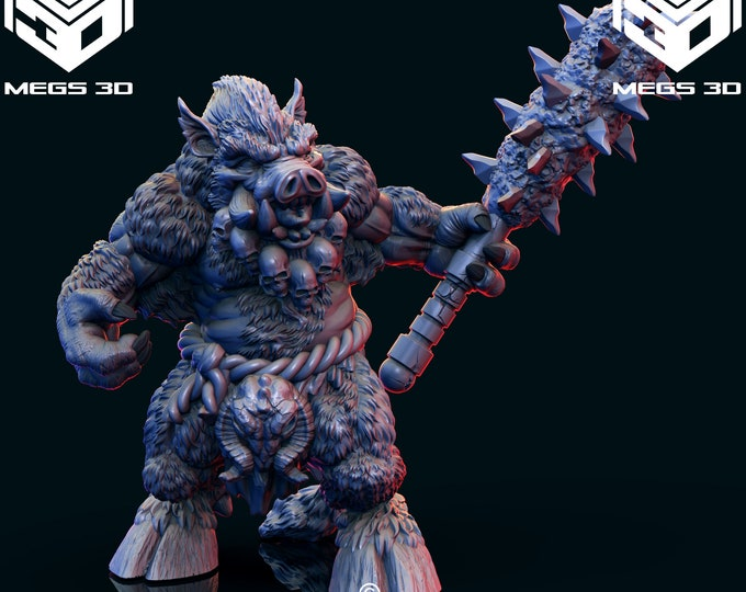 Wereboar 3 - 3D Printed Resin Miniature for Dungeons and Dragons, Pathfinder, Starfinder and other Tabletop RPGs