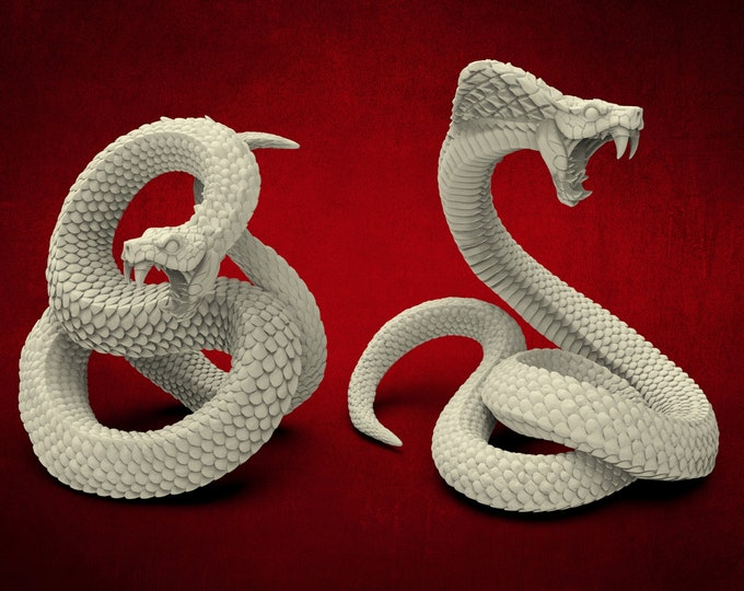 AMAZONS! Giant Snakes - 2 Poses - 3D Printed Resin Miniature for Dungeons and Dragons Pathfinder and other Tabletop RPG