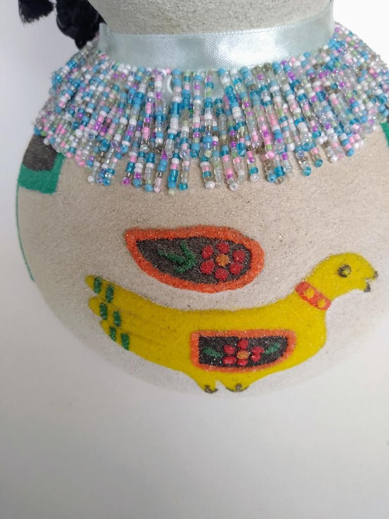 South American Tribal Folk Art, Mexican Tribal Sand Gour Art Native American Tribal Gourd Art