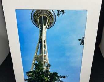 Matted photo card of the Space Needle, Seattle, Washington