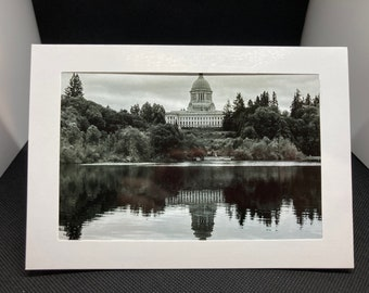 Matted Black n white  photo of the Capitol  in Washington (Olympia)