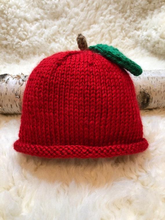Brand new and Customizable! Handknit Newborn Strawberry Hat