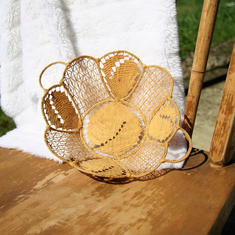 vintage hand woven grass on wire basket