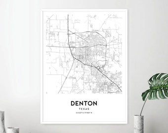 Denton texas map | Etsy on