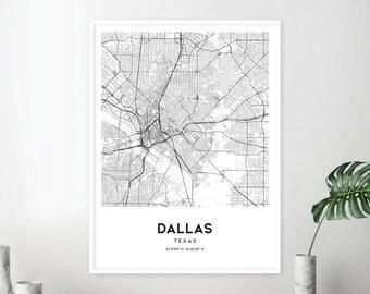 Road Map Of Dallas Texas.Dallas Road Map Etsy