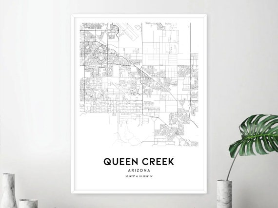 Map Of Arizona Showing Queen Creek.Queen Creek Map Print Queen Creek Map Poster Wall Art Az City Map Arizona Print Street Map Decor Road Map Gift D1727v4