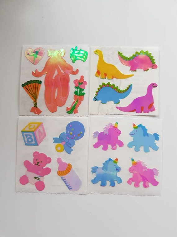 Vintage Sandylion Kromekote sticker module Bunnies with balloons