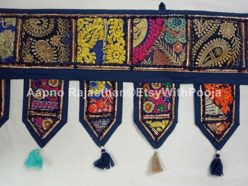 Door Window Bandarwar Valance Banjara Textile Boho Curtain,Door Hanging Embroidered Blue Patchwork Beautiful Indian Handmade Hippie Toran