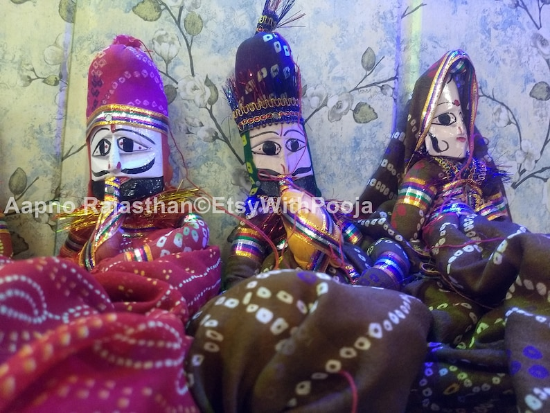 Rajasthani Famous Handmade Puppets Katputli Puppet Pair Home Decor Handcrafted Colorful Wooden Face String Puppet Kathputli in Pair Lot 5Pc
