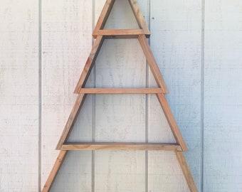 3 1/2 ft Rustic Tree wall shelf christmas tree  wood wall shelf  gifts  storage 