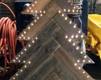 Large 12 inch to 3 ft to 3 1/2 Ft rustic herringbone wood Christmas tree , Christmas decorations , yard decorations, lighted tree