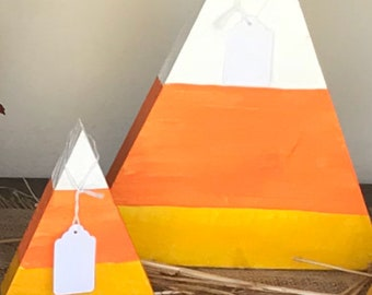 Set of 2 Candy corn wood decor for Halloween