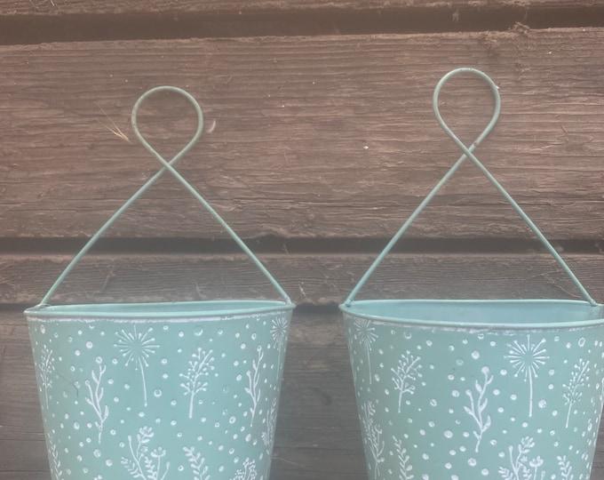 A Hanging tin Flower Pot . Succulent arrangement , set of two arrangements , succulent gifts