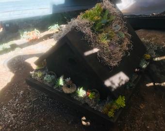 Succulent Birdhouse arrangement , Succulents , Gifts , Succulent Centerpiece , succulent decor , 4th of July , wedding centerpieces ,