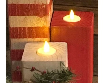 Christmas Wood Candle Tealight Holders |tealights |christmas lights |holiday decor |centerpeices |candles |wood candles |gifts|