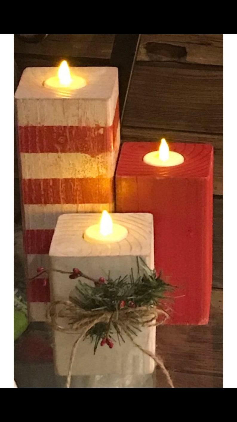 Christmas Wood Candle Tealight Holders tealights christmas image 0