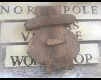 Snowman Or Santa Wood Decortaions Santa head yard stakes , snowman stakes , Santa ornaments , snowman Ornament