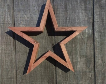 Solid Cedar Wood Succulent hanging star planter/ Fourth of July planter or decor