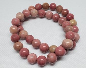 Rhodonite Handmade Red Flower Bead B4461 Natural Carving Floral Stone