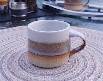 Espresso Cup, Espresso Mug: blue-brown/white, 3 oz, stoneware