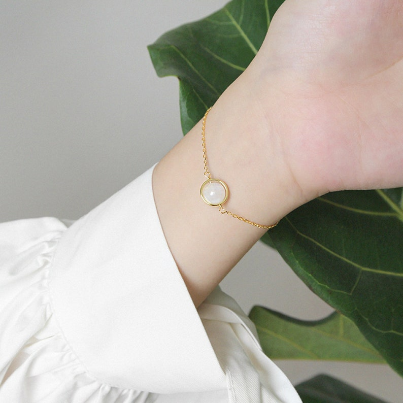 Hypoallergenic Skinny Chain Cuff Bracelet. RAWSOUL Dainty Moonstone Bracelet Sterling Silver Gold-Plated Aquamarine See Charming