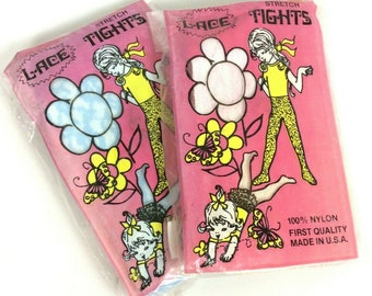 5177433909bc2 Childrens Lace Tights 2 Pair Size 7-10 Blue Pink Nylon Vintage 60s Made In  USA Girly Feminine Dress Up TV Movie Prop
