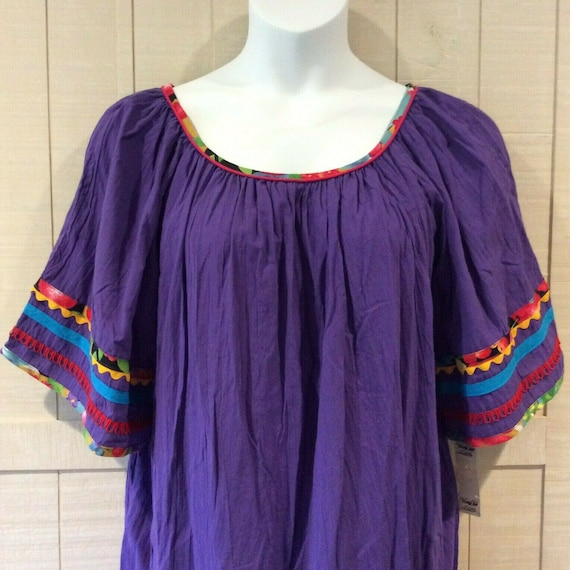 Vanity Fair Patio House Dress XL Purple Peasant Ga