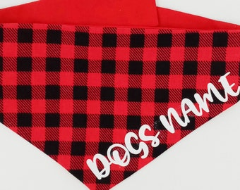 Personalized Dog Bandana, Buffalo Black & Red Plaid Tie On Reversible Dog Bandana, Large Dog Bandana, Toy Dog Bandana, Tea Cup Dog Bandana