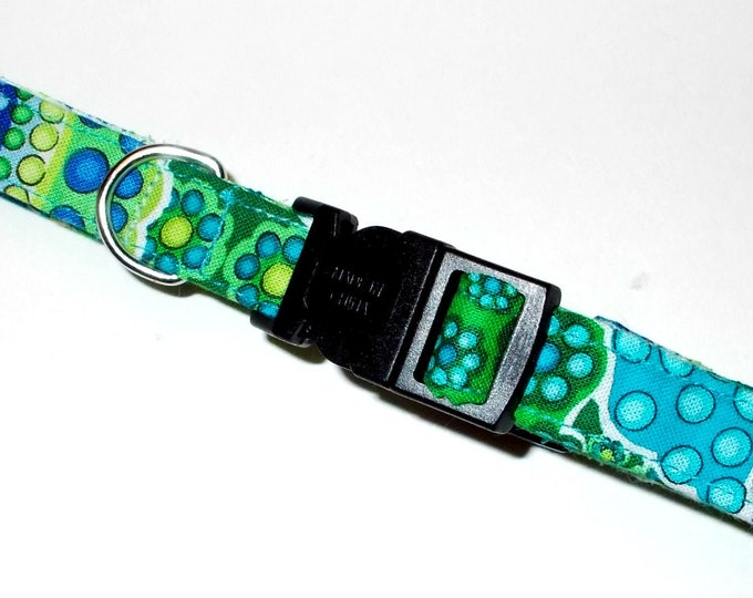 Dog Collar Turquoise & Green Bubble Print Size Small