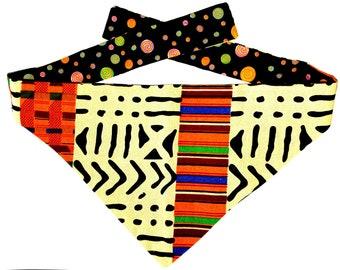 Dog Bandana Tie On, Reversible African Kente Print, (Size Medium)