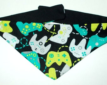 Dog Bandana, Tie On, Reversible Video Game Controller Print