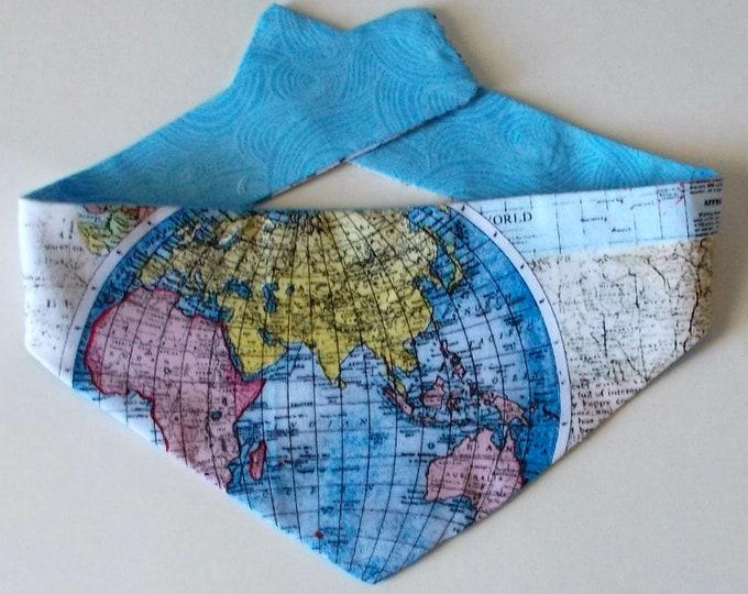 Dog Bandana, Tie on, Reversible, World Map Print