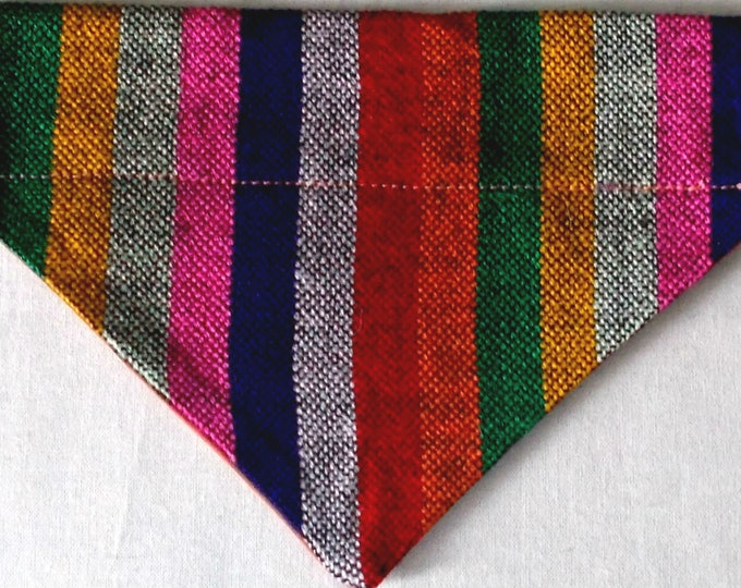 Dog Bandana Multi-color Stripe Guatemalan Fabric