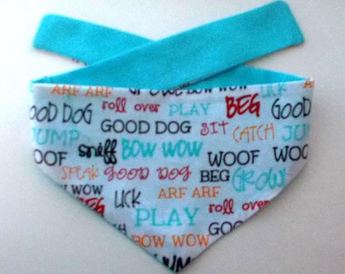 Dog Bandana, Tie On, Reversible,  Dog Phrases Print, Size X-Large