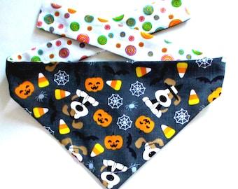 Dog Bandana, Halloween Dog Bandana, Trick or Treat Beagle, Reversible, Tie On