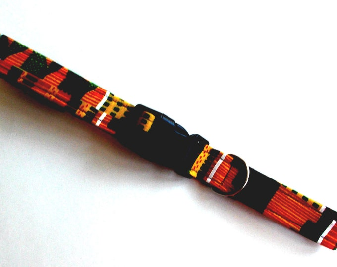 Dog Collar African Kente Print Size Large
