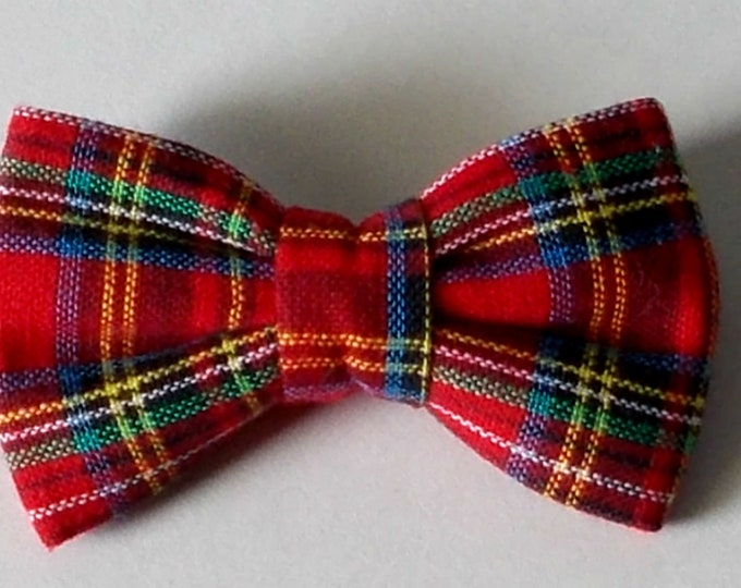 Dog Bow Tie Plaid Red Print Size Small