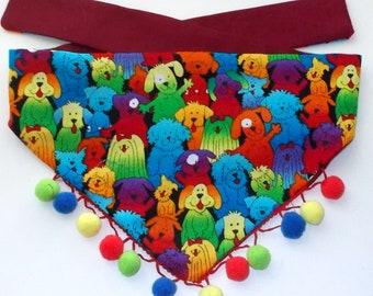 Dog Bandana, Tie On, Reversible, Puppies and Pom Poms Print